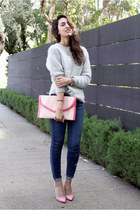 pink H&M bag - blue Paige Denim jeans - heather gray moms mohair sweater
