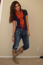 White-express-jacket-blue-american-apparel-t-shirt-orange-h-m-scarf-blue-e