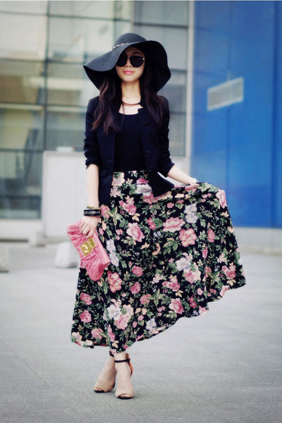 floppy Forever21 hat - clutch Miu Miu bag - maxi vintage custom made skirt