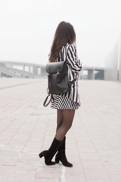 vintage boots - stripe vintage blazer - stripe Forever 21 skirt