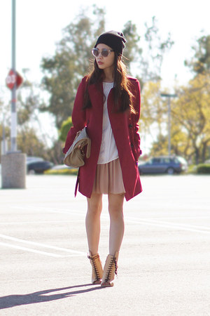 maroon trench coat Burberry coat