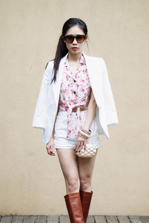 crop MinkPink shirt - Zara blazer - no brand bag - American Apparel shorts