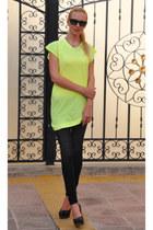 neon Zara shirt - Ray Ban sunglasses - Zara heels - Zara pants