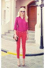 Hot-pink-magenta-massimo-dutti-shirt-crimson-brown-topshop-bag