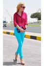 Sky-blue-jennyfer-jeans-magenta-massimo-dutti-shirt-deep-purple-milano-bag