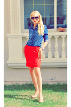 red Mango skirt - denim shirt Zara shirt - nude Christian Louboutin heels