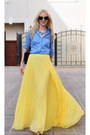 Zara-shirt-chanel-bag-yellow-mango-skirt-christian-louboutin-heels