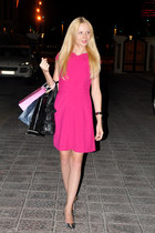 pink karen millen dress - BCBG bag - metallic Zara heels