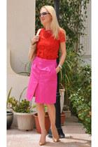 red lace Zara shirt - nude salvador ferragamo bag - christian dior sunglasses