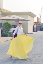 yellow Mango skirt - white white Zara shirt - black jambo Chanel bag
