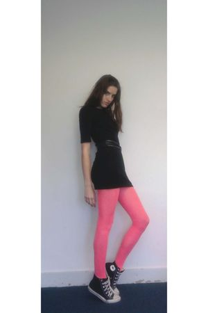 black H&M dress - pink H&M tights - black Oasis belt - black Converse shoes