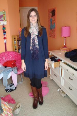 Velvet dress - H&M scarf - brown Arturo Chiang boots - black leggings - gray Tul