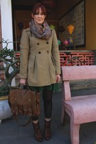 brown boots - green dress - camel coat - gold patterned scarf - tan bag