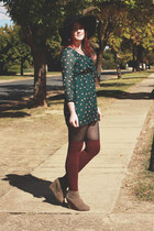 green wholesaledressnet dress - black Sportsgirl hat - maroon Topshop socks - ca