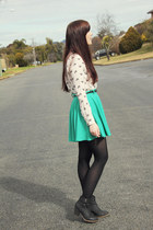 teal Mink Pink skirt - ivory print Zara shirt