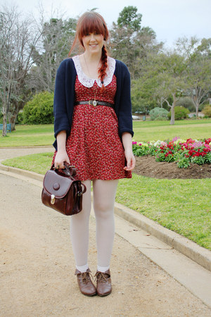 brick red Quirky circus dress - white spotted tights - dark brown vintage bag -