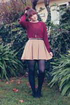 maroon Sportsgirl blouse - camel Dotti skirt