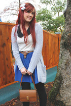 brown vintage bag - blue Topshop skirt - heather gray Quirky circus cardigan - w