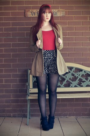 navy heart print shorts - black boots - camel coat - ruby red top