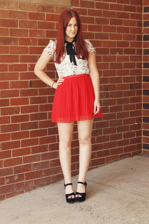 white star print blouse - red pleated skirt - black wedges