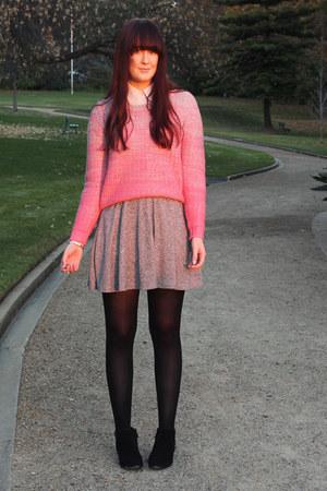 pink asos jumper - heather gray Topshop skirt