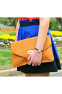 Blue-dotti-skirt-light-orange-envelope-clutch-sportsgirl-bag