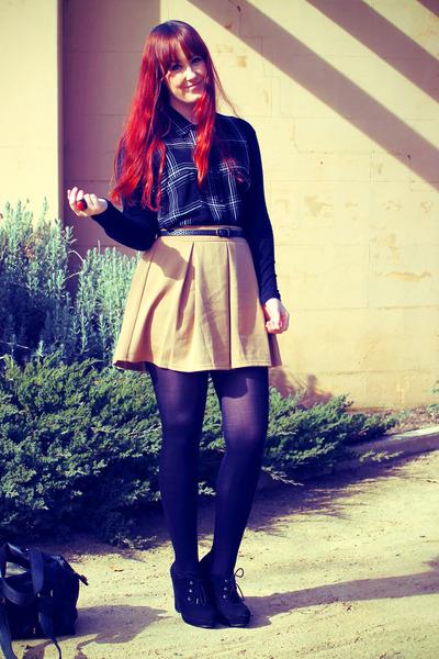 black Wayne Cooper bag - camel Dotti skirt - black tartan Sportsgirl blouse - bl