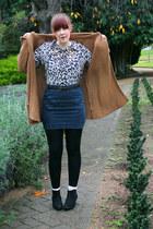 tawny Sportsgirl cardigan - off white leopard print blouse - navy skirt