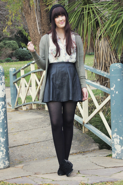black leather Ally skirt - cream vintage blouse - olive green cardigan
