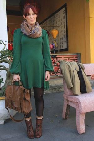 brown lace up boots - green dress - camel coat - tan satchel bag