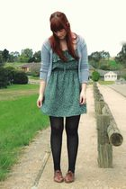 green dress - gray cardigan - brown shoes - beige accessories