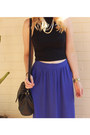 Blue-maxi-skirt-supre-skirt-black-vintage-bag-bag