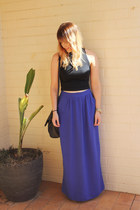 blue maxi skirt supre skirt - black vintage bag bag