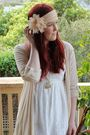 White-dotti-dress-beige-cotton-on-cardigan-gray-rubi-boots-pink-diva