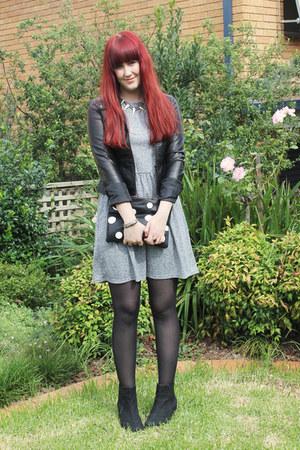 black Topshop bag - heather gray Topshop dress - black Dotti jacket