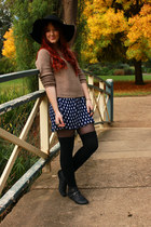 navy polka dots dress - black floppy Sportsgirl hat - ruby red scarf - camel spo