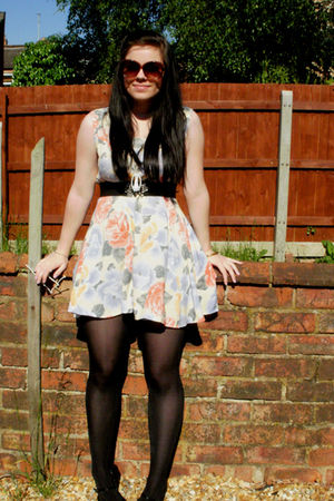 black tights - black shoes - black belt - white dress - brown sunglasses
