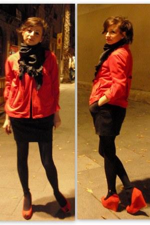 black random tights - red random jacket - black random scarf