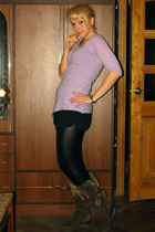 purple fishbone top - black Miss Selfridge shorts - black Ebay leggings - brown