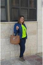 tan shoes - blue Macys jacket - tan tory burch bag
