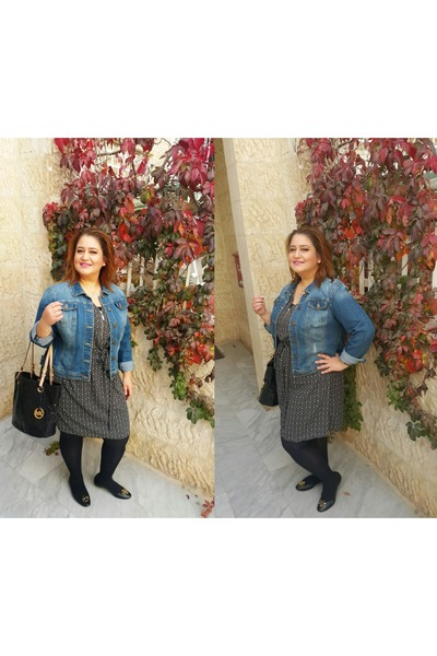 black Matalan dress - sky blue VERSONA jacket - black Michael Kors bag