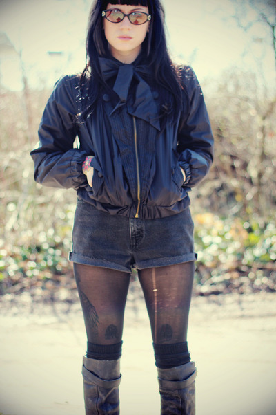 black Hellz Bellz jacket - black Jeffrey Campbell boots - dark gray Levis shorts