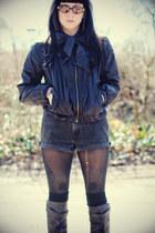 black Hellz Bellz jacket - black Jeffrey Campbell boots - dark gray Levis shorts