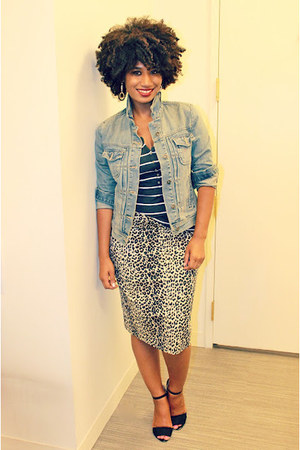 black leopard Forever 21 skirt - black black Zara shoes - blue denim Gap jacket