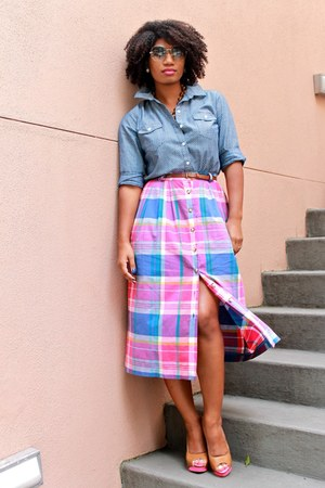 plaid thrifted skirt - Old Navy shirt - leather Enzo Angiolini heels