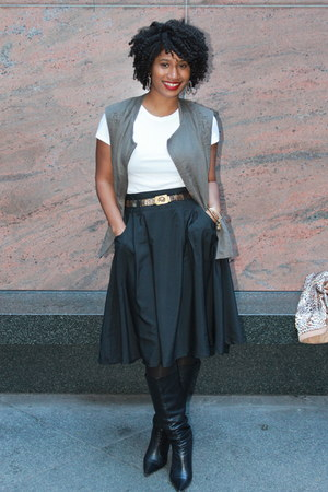 black black leather Aldo boots - black black chiffon Old Navy skirt