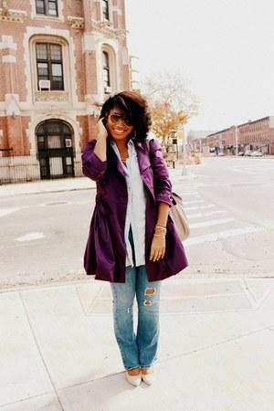 purple Forever 21 jacket - beige Old Navy bag - beige suede Nine West heels