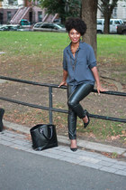 leather BCBGirls heels - Old Navy shirt - leather-like H&M pants