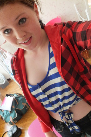 blue and white striped crop top - red and black checked jacket