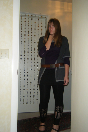 black made by me dress - black One Step Up leggings - gray  cardigan - purple  s